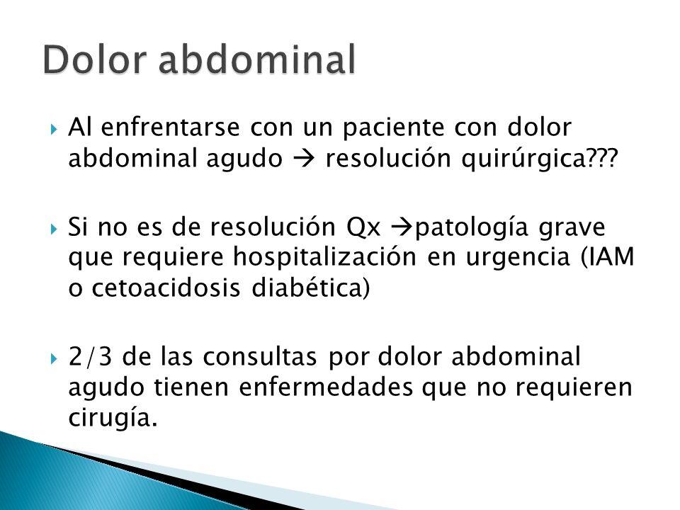 Al enfrentarse con un paciente con dolor abdominal agudo resolución quirúrgica??? Si no es de resolución Qx patología grave que requiere hospitalizaci