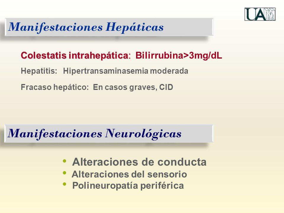 Manifestaciones Hepáticas Colestatis intrahepática: Colestatis intrahepática: Bilirrubina>3mg/dL Hepatitis: Hipertransaminasemia moderada Fracaso hepá