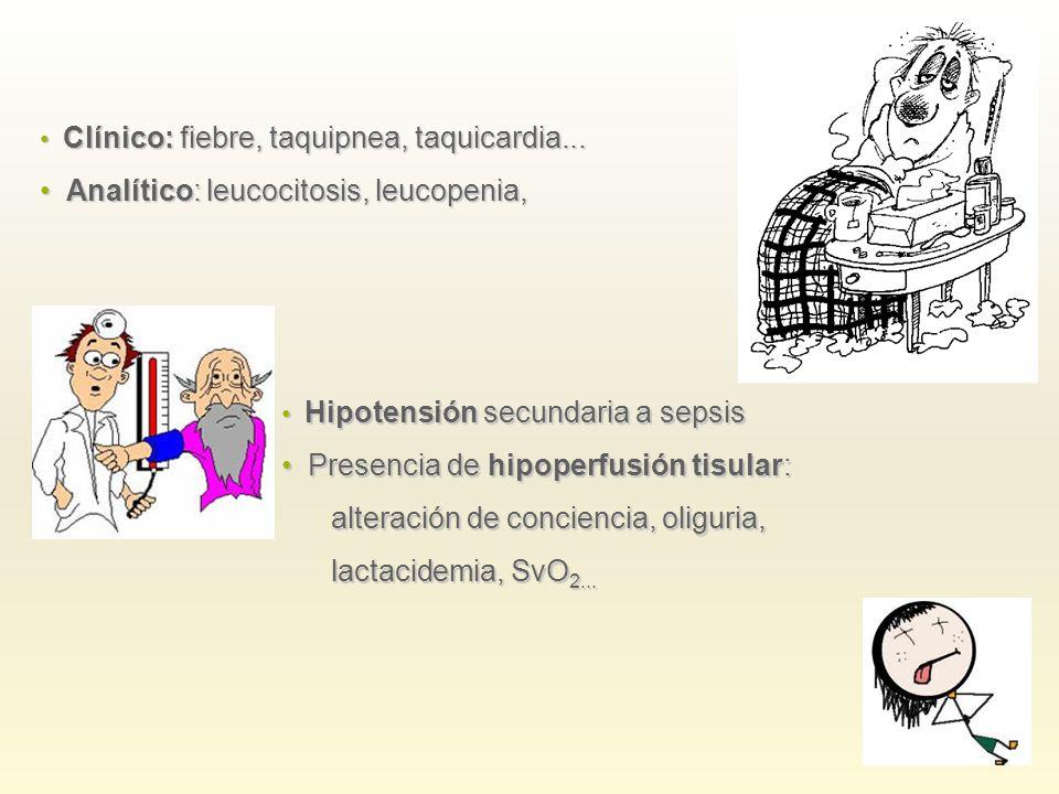Clínico: fiebre, taquipnea, taquicardia... Clínico: fiebre, taquipnea, taquicardia... Analítico: leucocitosis, leucopenia, Analítico: leucocitosis, le