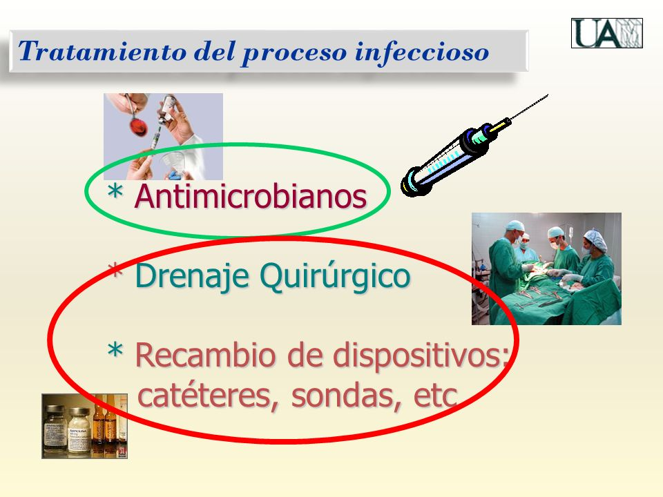 Tratamiento del proceso infeccioso * Antimicrobianos * Drenaje Quirúrgico * Recambio de dispositivos: catéteres, sondas, etc catéteres, sondas, etc