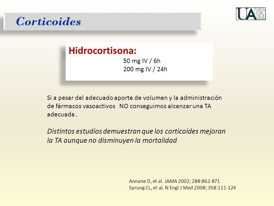 Corticoides Si a pesar del adecuado aporte de volumen y la administración de fármacos vasoactivos NO conseguimos alcanzar una TA adecuada. Distintos e