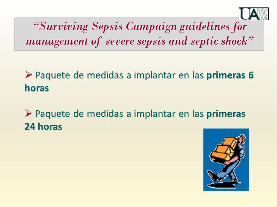 Surviving Sepsis Campaign guidelines for management of severe sepsis and septic shock Paquete de medidas a implantar en las primeras 6 horas Paquete de medidas a implantar en las primeras 6 horas Paquete de medidas a implantar en las primeras 24 horas Paquete de medidas a implantar en las primeras 24 horas