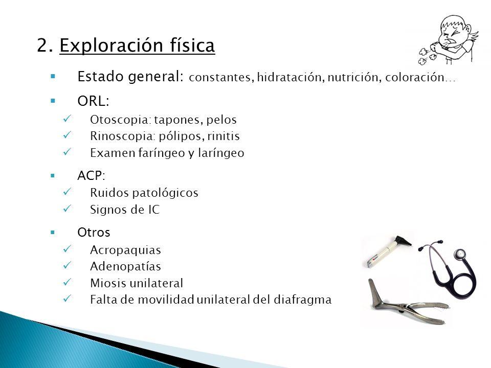 2. Exploración física Estado general: constantes, hidratación, nutrición, coloración… ORL: Otoscopia: tapones, pelos Rinoscopia: pólipos, rinitis Exam