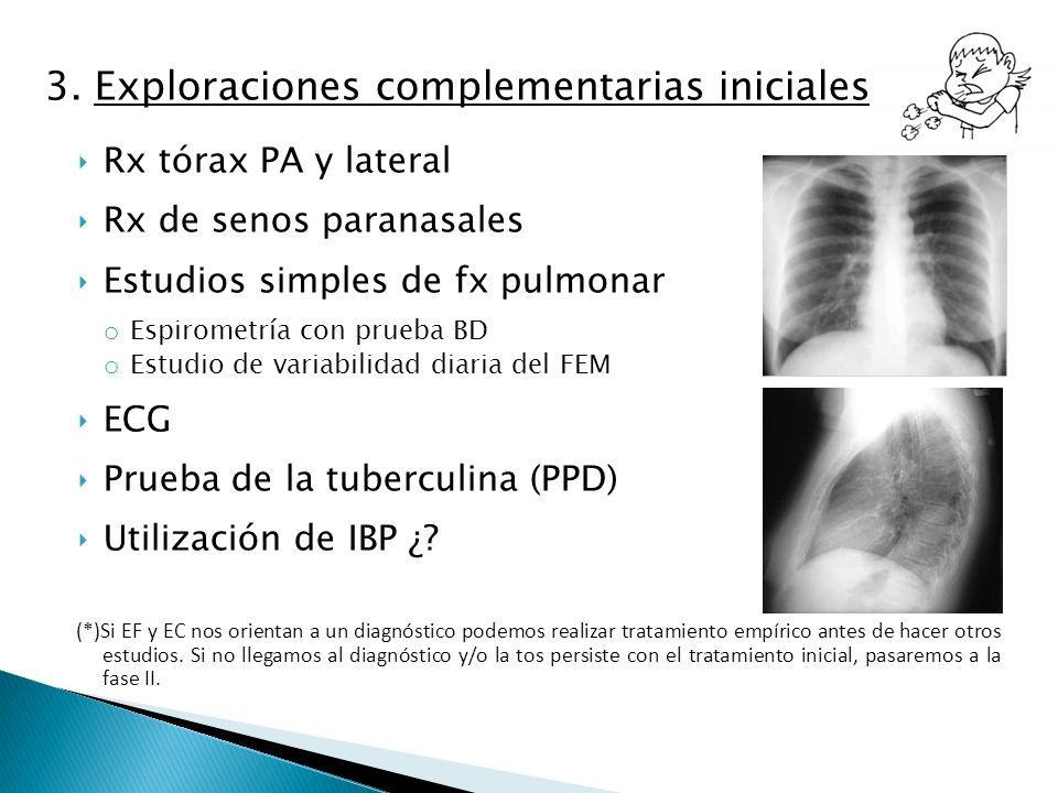 3. Exploraciones complementarias iniciales Rx tórax PA y lateral Rx de senos paranasales Estudios simples de fx pulmonar o Espirometría con prueba BD