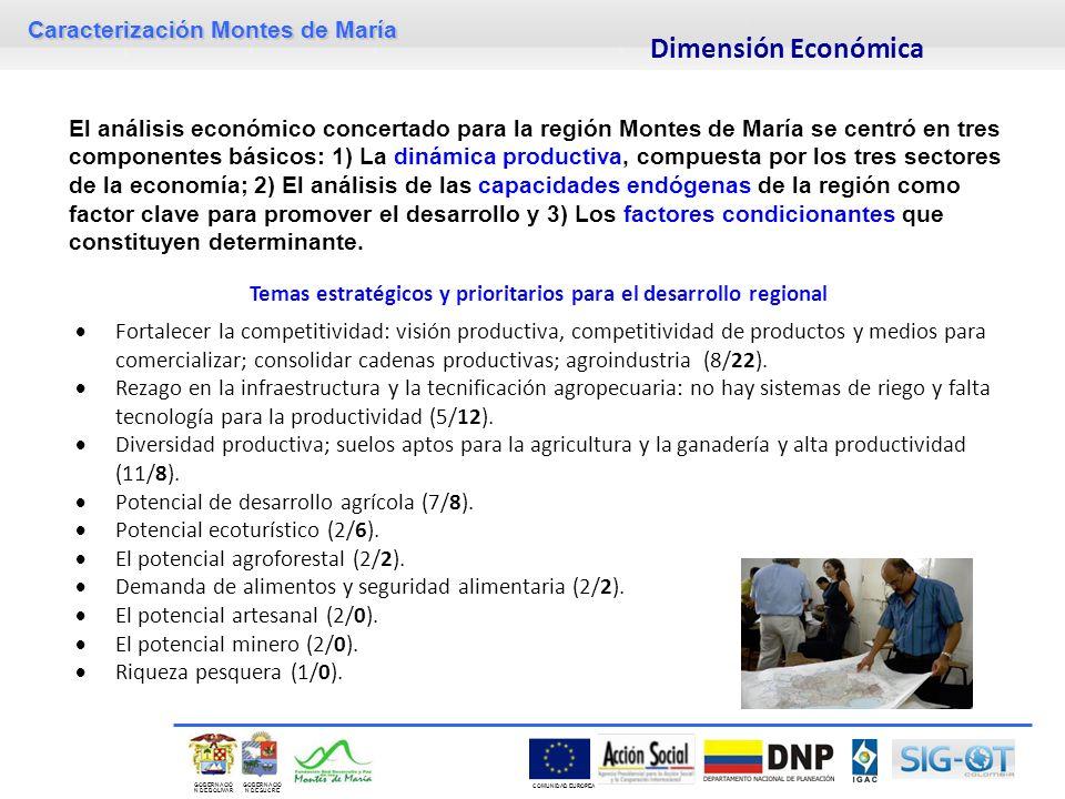 Caracterización Montes de María GOBERNACIÓ N DE SUCRE GOBERNACIÓ N DE BOLIVAR COMUNIDAD EUROPEA El análisis económico concertado para la región Montes
