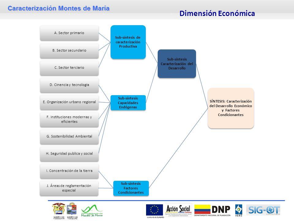 Caracterización Montes de María GOBERNACIÓ N DE SUCRE GOBERNACIÓ N DE BOLIVAR COMUNIDAD EUROPEA Dimensión Económica SÍNTESIS: Caracterización del Desa