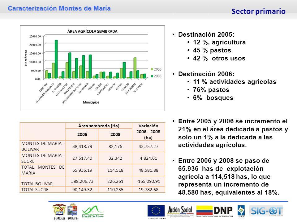 Caracterización Montes de María GOBERNACIÓ N DE SUCRE GOBERNACIÓ N DE BOLIVAR COMUNIDAD EUROPEA Área sembrada (Ha)Variación 2006 - 2008 (ha) 20062008 MONTES DE MARIA - BOLIVAR 38,418.7982,17643,757.27 MONTES DE MARIA - SUCRE 27,517.4032,3424,824.61 TOTAL MONTES DE MARIA 65,936.19114,51848,581.88 TOTAL BOLIVAR 388,206.73226,261-165,090.91 TOTAL SUCRE90,149.32110,23519,782.68 Destinación 2005: 12 %, agricultura 45 % pastos 42 % otros usos Destinación 2006: 11 % actividades agrícolas 76% pastos 6% bosques Entre 2005 y 2006 se incremento el 21% en el área dedicada a pastos y solo un 1% a la dedicada a las actividades agrícolas.