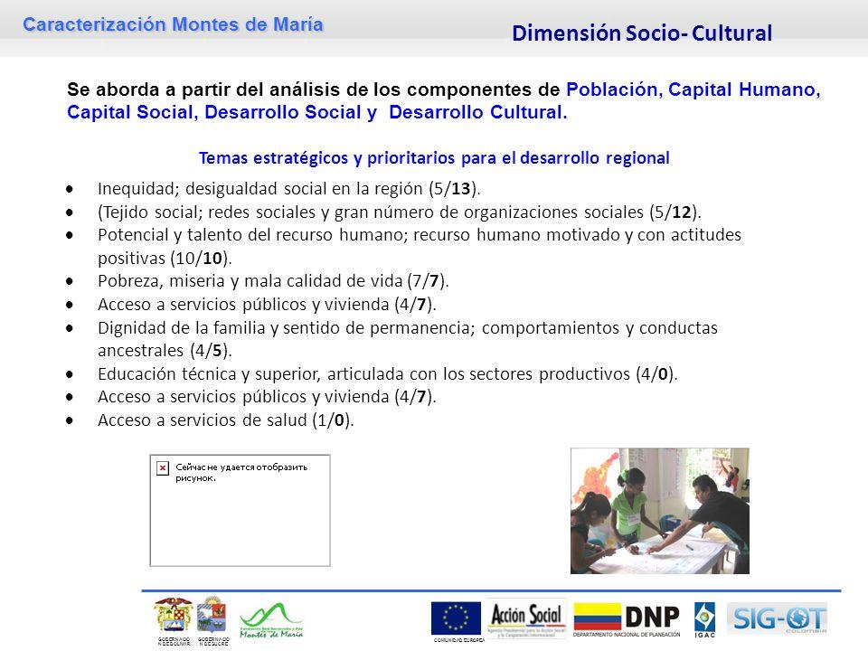 Caracterización Montes de María GOBERNACIÓ N DE SUCRE GOBERNACIÓ N DE BOLIVAR COMUNIDAD EUROPEA Se aborda a partir del análisis de los componentes de Población, Capital Humano, Capital Social, Desarrollo Social y Desarrollo Cultural.