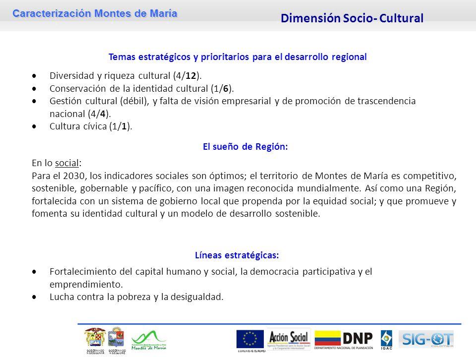 Caracterización Montes de María GOBERNACIÓ N DE SUCRE GOBERNACIÓ N DE BOLIVAR COMUNIDAD EUROPEA El sueño de Región: En lo social: Para el 2030, los in