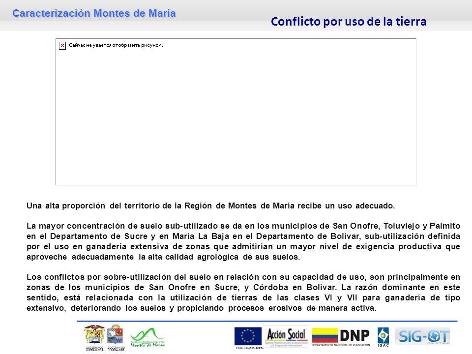 Caracterización Montes de María GOBERNACIÓ N DE SUCRE GOBERNACIÓ N DE BOLIVAR COMUNIDAD EUROPEA Una alta proporción del territorio de la Región de Montes de María recibe un uso adecuado.