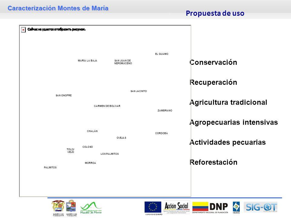 Caracterización Montes de María GOBERNACIÓ N DE SUCRE GOBERNACIÓ N DE BOLIVAR COMUNIDAD EUROPEA Propuesta de uso Conservación Recuperación Agricultura