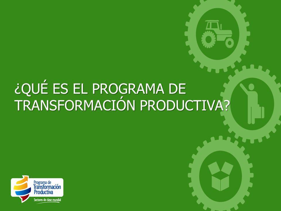 El Programa de Transformación Productiva* es una alianza público-privada orientada a: Fortalecer el aparato productivo colombiano Aprovechar las oportunidades que surgen de los Acuerdos Comerciales Contribuir al mejoramiento de la calidad de vida de los colombianos * El Programa de Transformación Productiva es considerado como un ejemplo de innovación a nivel mundial por la Universidad de Oxford, Inglaterra