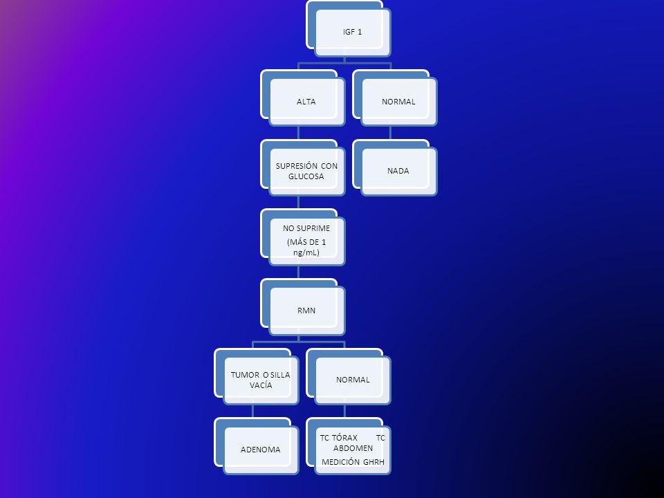 IGF 1ALTA SUPRESIÓN CON GLUCOSA NO SUPRIME (MÁS DE 1 ng/mL) RMN TUMOR O SILLA VACÍA ADENOMANORMAL TC TÓRAX TC ABDOMEN MEDICIÓN GHRH NORMALNADA