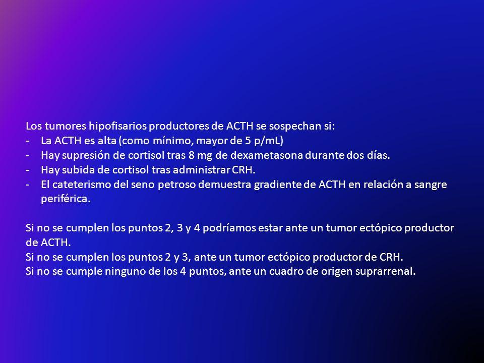 Los tumores hipofisarios productores de ACTH se sospechan si: -La ACTH es alta (como mínimo, mayor de 5 p/mL) -Hay supresión de cortisol tras 8 mg de dexametasona durante dos días.