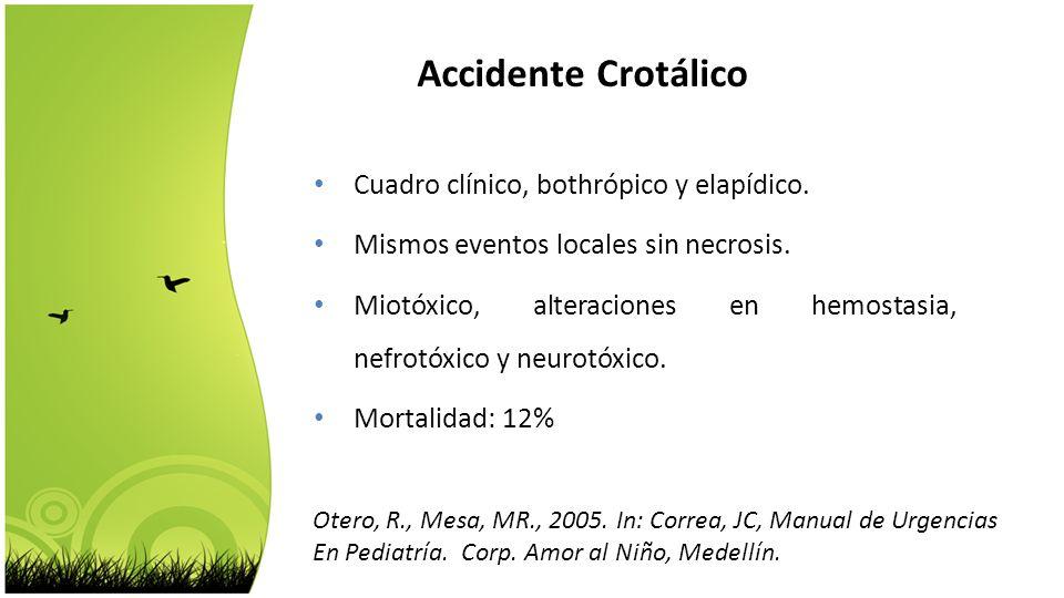 Cuadro clínico, bothrópico y elapídico. Mismos eventos locales sin necrosis. Miotóxico, alteraciones en hemostasia, nefrotóxico y neurotóxico. Mortali