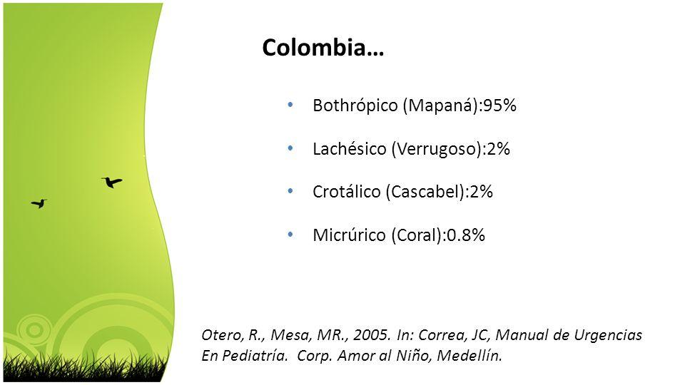Otero, R., Mesa, MR., 2005. In: Correa, JC, Manual de Urgencias En Pediatría. Corp. Amor al Niño, Medellín. Bothrópico (Mapaná):95% Lachésico (Verrugo