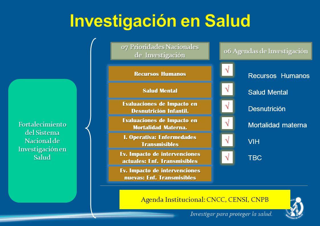 Fortalecimiento del Sistema Nacional de Investigación en Salud Recursos Humanos Evaluaciones de Impacto en Desnutrición Infantil. Salud Mental Evaluac