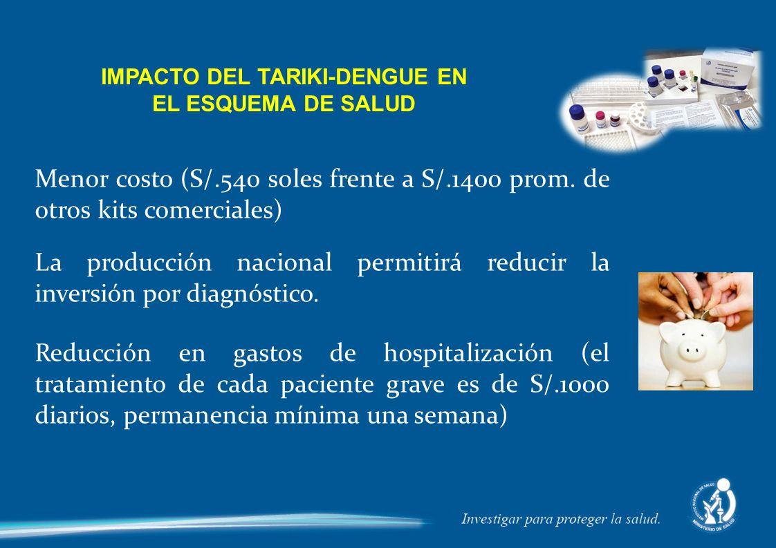 Menor costo (S/.540 soles frente a S/.1400 prom. de otros kits comerciales) La producción nacional permitirá reducir la inversión por diagnóstico. Red