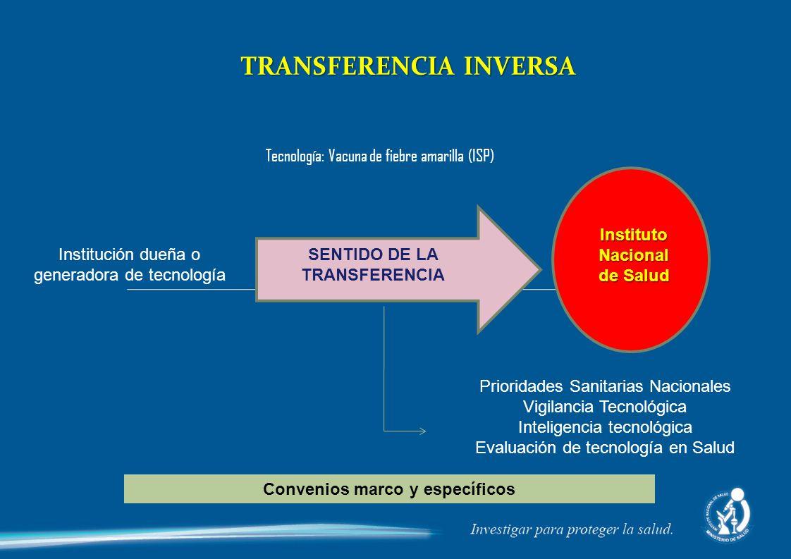 TRANSFERENCIA INVERSA Instituto Nacional de Salud Institución dueña o generadora de tecnología Tecnología: Vacuna de fiebre amarilla (ISP) Prioridades