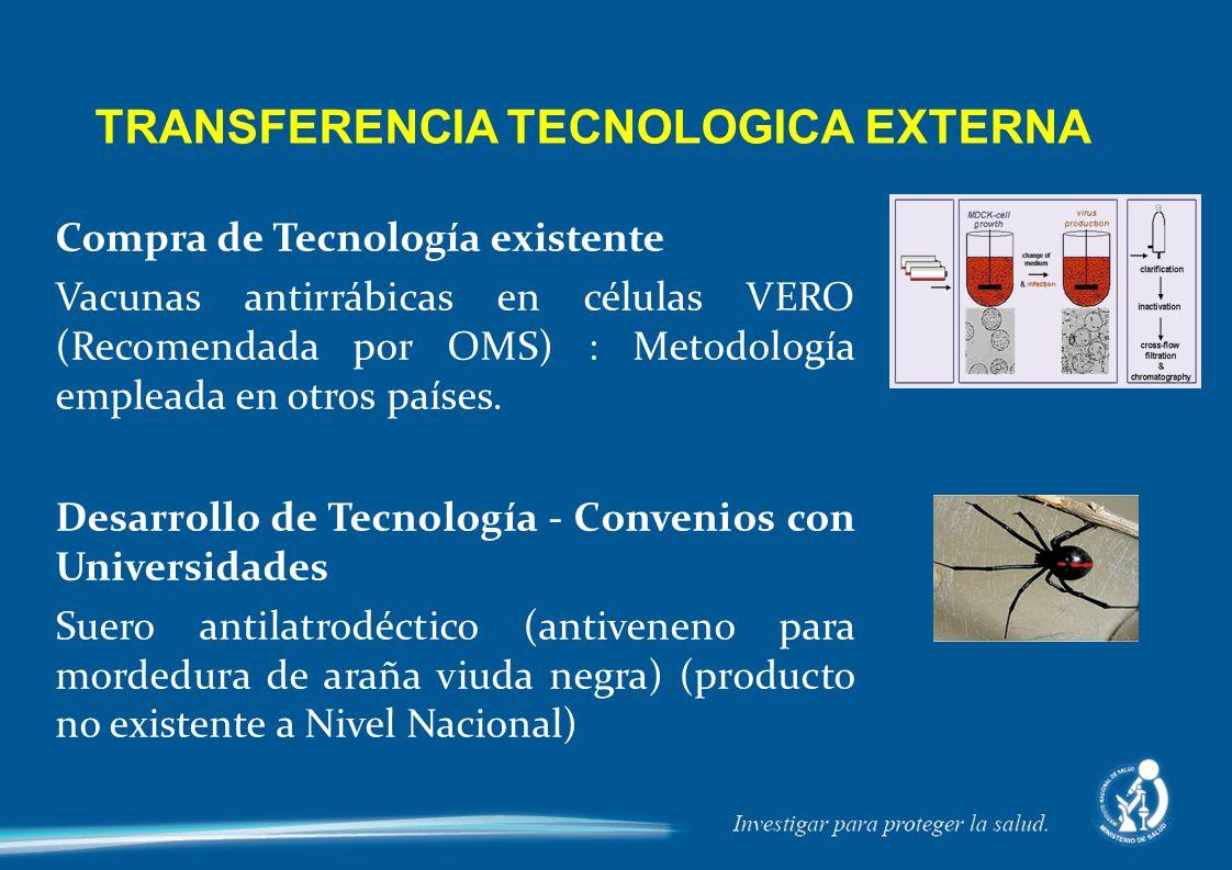 Compra de Tecnología existente Vacunas antirrábicas en células VERO (Recomendada por OMS) : Metodología empleada en otros países. Desarrollo de Tecnol
