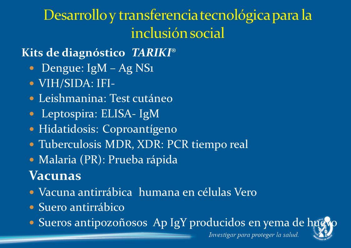 Kits de diagnóstico TARIKI® Dengue: IgM – Ag NS1 VIH/SIDA: IFI- Leishmanina: Test cutáneo Leptospira: ELISA- IgM Hidatidosis: Coproantígeno Tuberculosis MDR, XDR: PCR tiempo real Malaria (PR): Prueba rápida Vacunas Vacuna antirrábica humana en células Vero Suero antirrábico Sueros antipozoñosos Ap IgY producidos en yema de huevo
