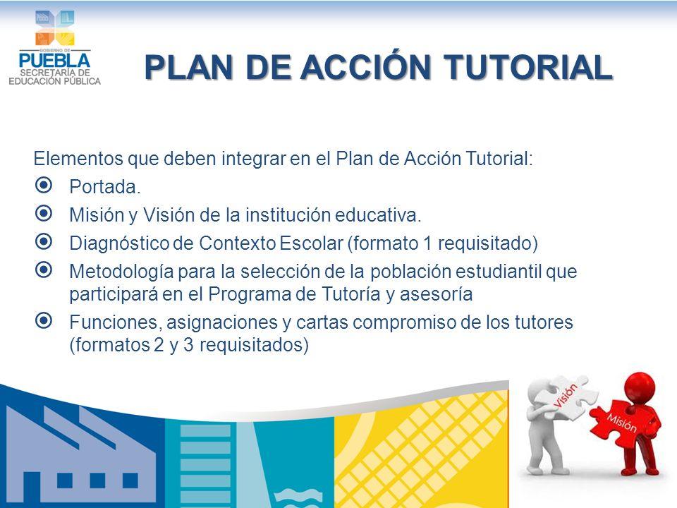 Elementos que deben integrar en el Plan de Acción Tutorial: Portada.