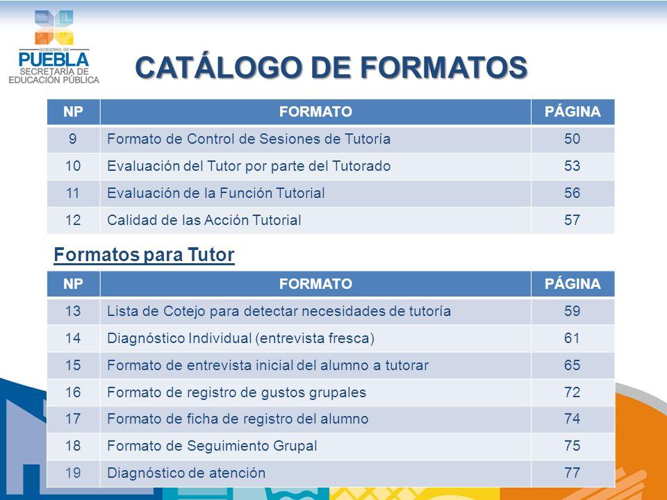 CATÁLOGO DE FORMATOS NPFORMATOPÁGINA 9Formato de Control de Sesiones de Tutoría50 10Evaluación del Tutor por parte del Tutorado53 11Evaluación de la Función Tutorial56 12Calidad de las Acción Tutorial57 NPFORMATOPÁGINA 13Lista de Cotejo para detectar necesidades de tutoría59 14Diagnóstico Individual (entrevista fresca)61 15Formato de entrevista inicial del alumno a tutorar65 16Formato de registro de gustos grupales72 17Formato de ficha de registro del alumno74 18Formato de Seguimiento Grupal75 19Diagnóstico de atención77 Formatos para Tutor