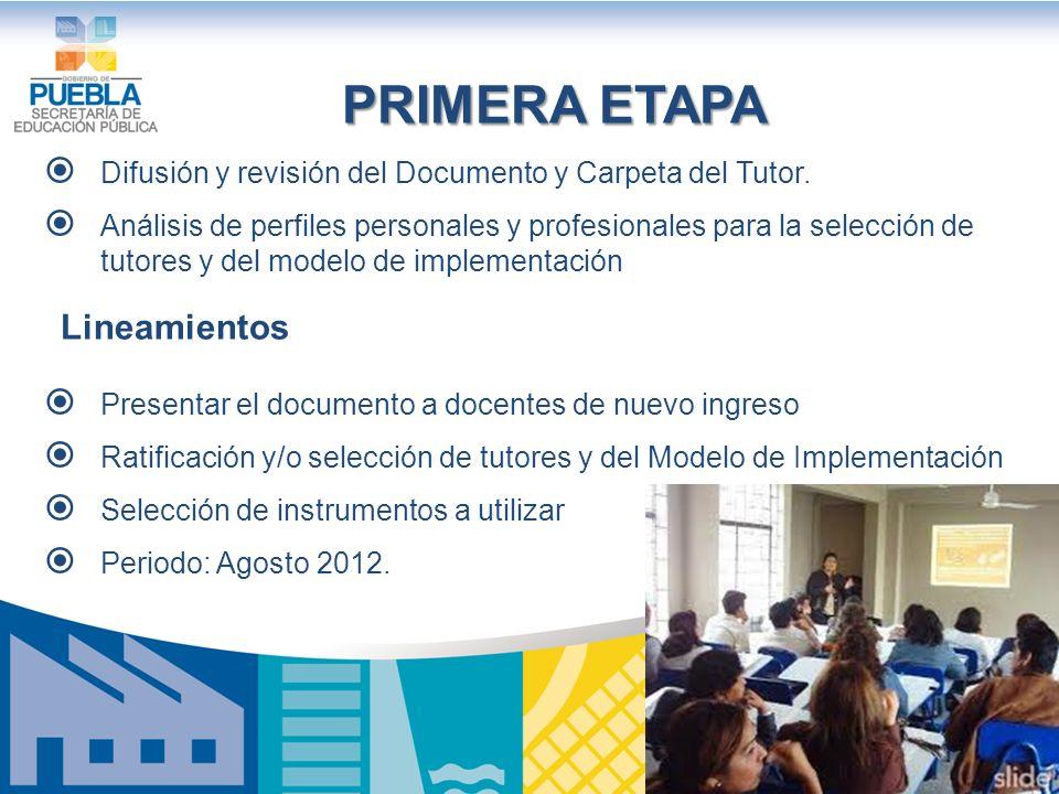 SEGUNDA ETAPA Reuniones con todos los docentes de la escuela para la selección de tutores.