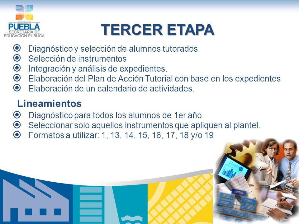 TERCER ETAPA Diagnóstico y selección de alumnos tutorados Selección de instrumentos Integración y análisis de expedientes.