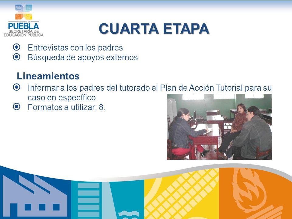CUARTA ETAPA Entrevistas con los padres Búsqueda de apoyos externos Lineamientos Informar a los padres del tutorado el Plan de Acción Tutorial para su caso en específico.