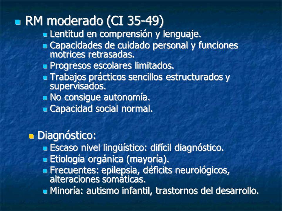 RM moderado (CI 35-49) RM moderado (CI 35-49) Lentitud en comprensión y lenguaje. Lentitud en comprensión y lenguaje. Capacidades de cuidado personal