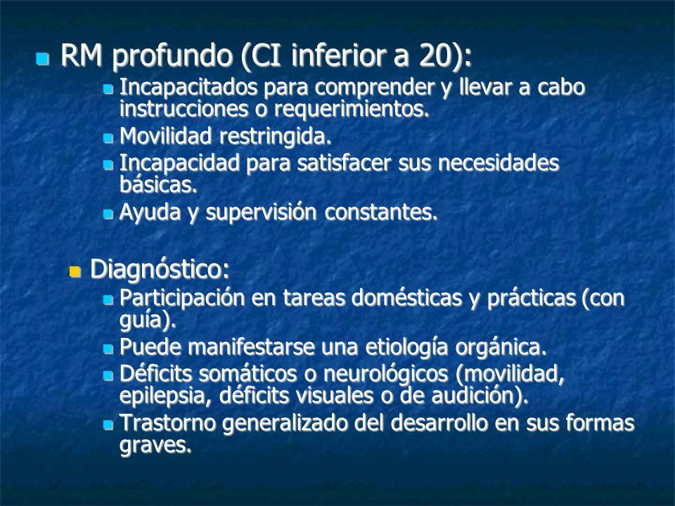 RM profundo (CI inferior a 20): RM profundo (CI inferior a 20): Incapacitados para comprender y llevar a cabo instrucciones o requerimientos. Incapaci