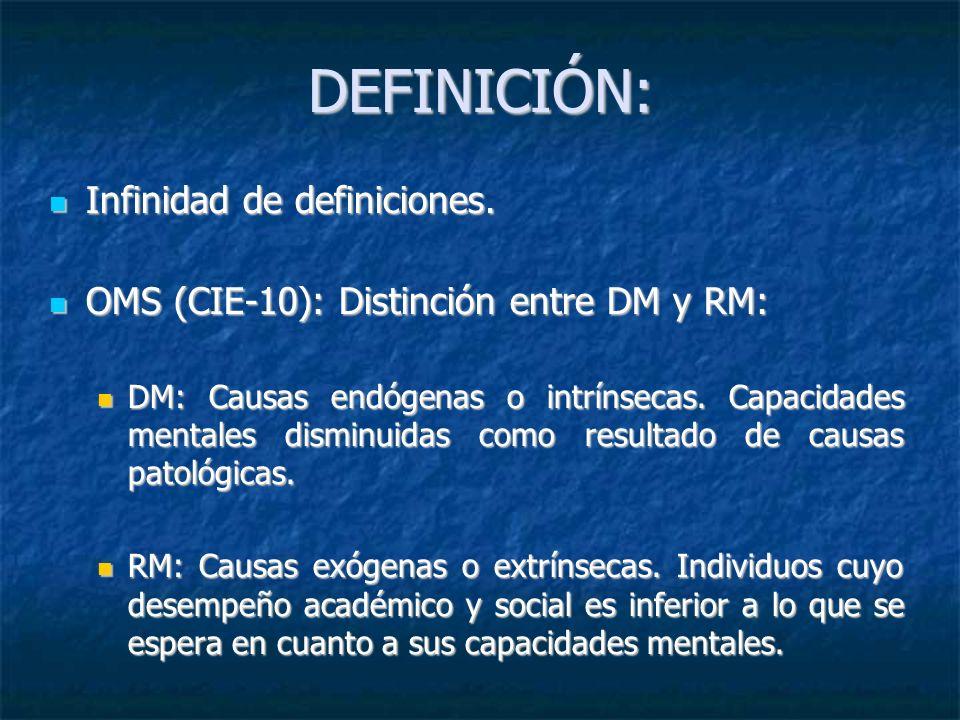 DEFINICIÓN: Infinidad de definiciones. Infinidad de definiciones. OMS (CIE-10): Distinción entre DM y RM: OMS (CIE-10): Distinción entre DM y RM: DM: