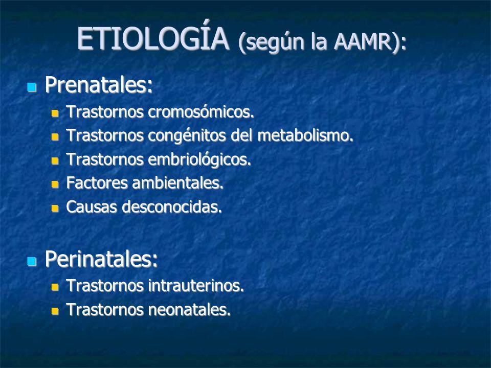 ETIOLOGÍA (según la AAMR): Prenatales: Prenatales: Trastornos cromosómicos. Trastornos cromosómicos. Trastornos congénitos del metabolismo. Trastornos