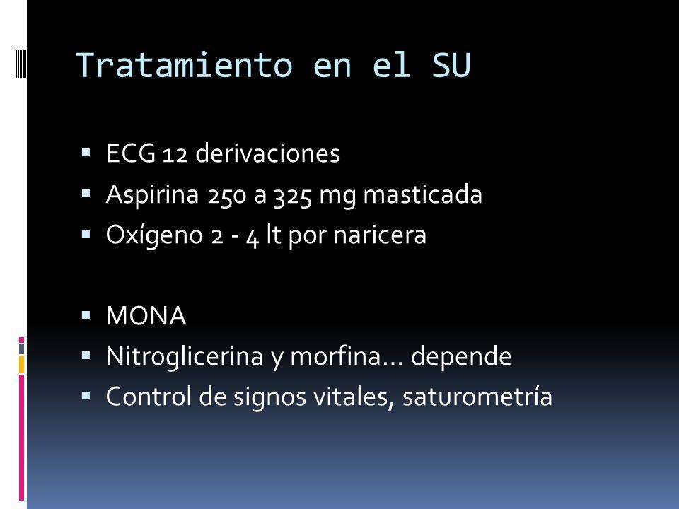 Tratamiento en el SU ECG 12 derivaciones Aspirina 250 a 325 mg masticada Oxígeno 2 - 4 lt por naricera MONA Nitroglicerina y morfina… depende Control