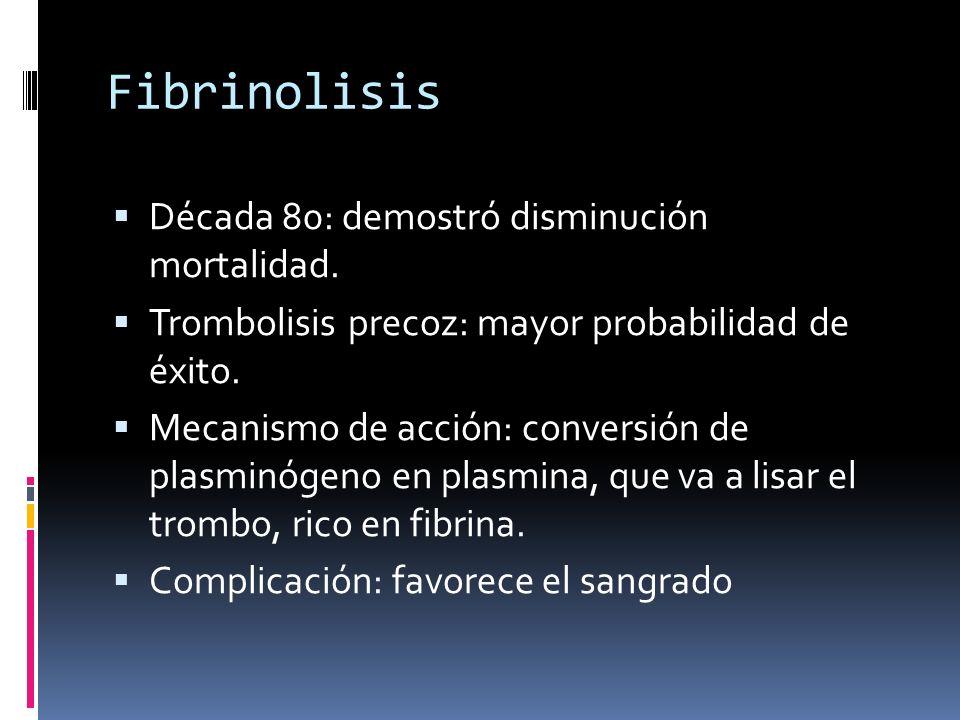 Fibrinolisis Década 80: demostró disminución mortalidad. Trombolisis precoz: mayor probabilidad de éxito. Mecanismo de acción: conversión de plasminóg