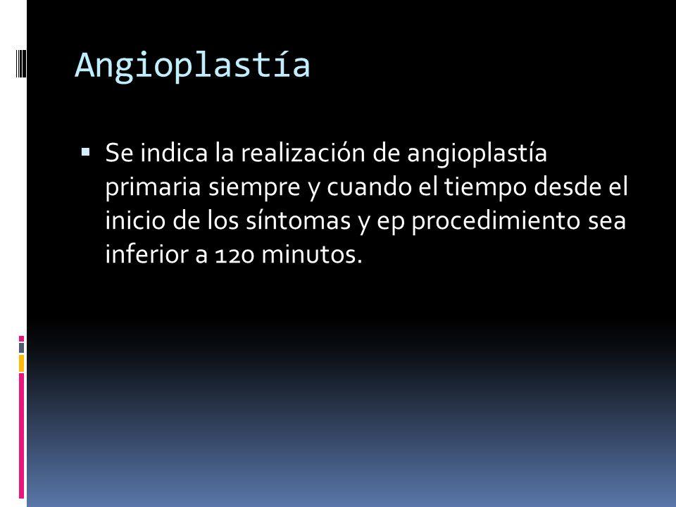Angioplastía Se indica la realización de angioplastía primaria siempre y cuando el tiempo desde el inicio de los síntomas y ep procedimiento sea infer
