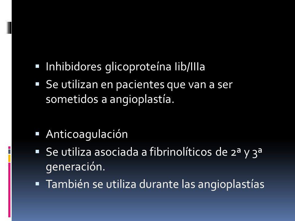 Inhibidores glicoproteína Iib/IIIa Se utilizan en pacientes que van a ser sometidos a angioplastía. Anticoagulación Se utiliza asociada a fibrinolític