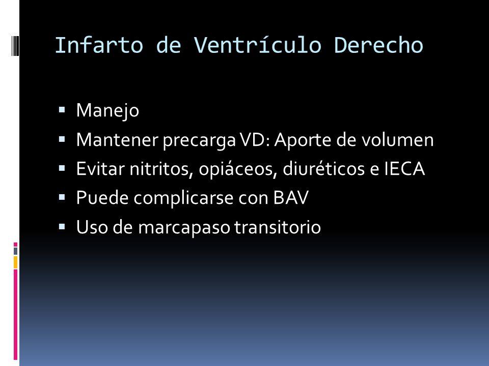 Infarto de Ventrículo Derecho Manejo Mantener precarga VD: Aporte de volumen Evitar nitritos, opiáceos, diuréticos e IECA Puede complicarse con BAV Us