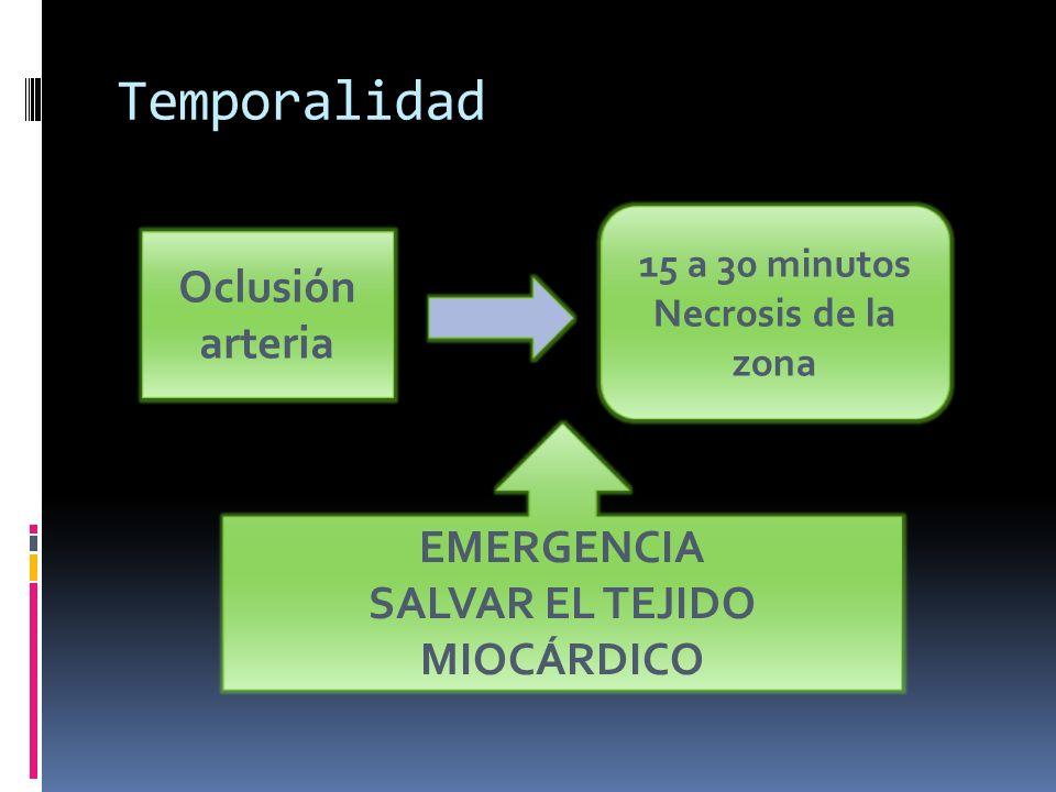 Temporalidad Oclusión arteria 15 a 30 minutos Necrosis de la zona EMERGENCIA SALVAR EL TEJIDO MIOCÁRDICO