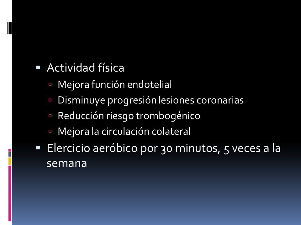 Actividad física Mejora función endotelial Disminuye progresión lesiones coronarias Reducción riesgo trombogénico Mejora la circulación colateral Eler