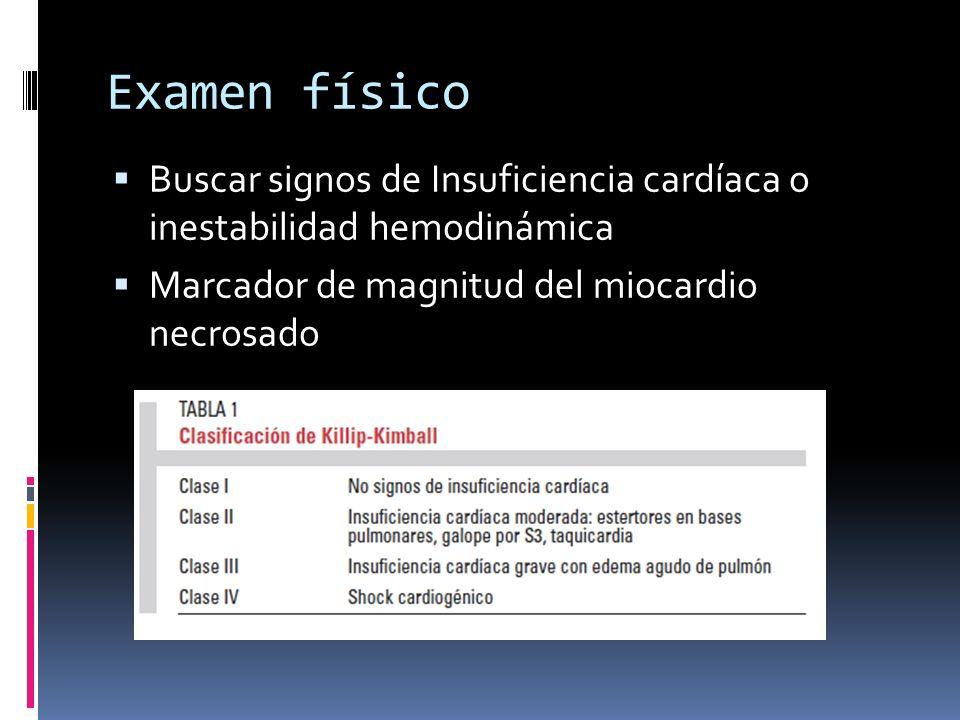 Examen físico Buscar signos de Insuficiencia cardíaca o inestabilidad hemodinámica Marcador de magnitud del miocardio necrosado