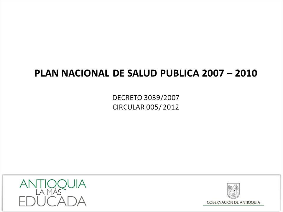 PLAN NACIONAL DE SALUD PUBLICA 2007 – 2010 DECRETO 3039/2007 CIRCULAR 005/ 2012