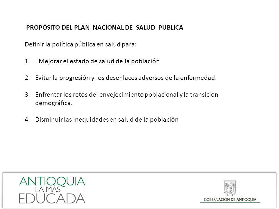 PROPÓSITO DEL PLAN NACIONAL DE SALUD PUBLICA Definir la política pública en salud para: 1.Mejorar el estado de salud de la población 2.Evitar la progr