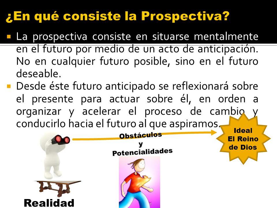 La prospectiva consiste en situarse mentalmente en el futuro por medio de un acto de anticipación. No en cualquier futuro posible, sino en el futuro d