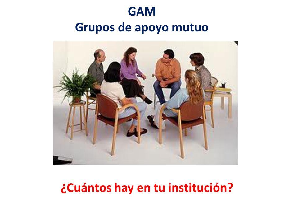 GAM Grupos de apoyo mutuo ¿Cuántos hay en tu institución?