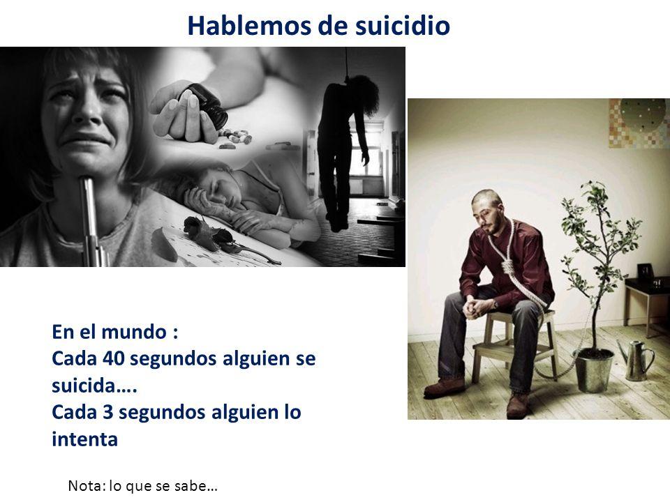 Hablemos de suicidio En el mundo : Cada 40 segundos alguien se suicida….