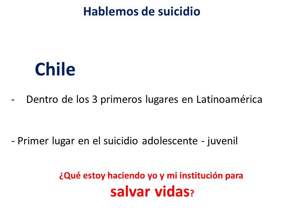 Hablemos de suicidio Chile -Dentro de los 3 primeros lugares en Latinoamérica - Primer lugar en el suicidio adolescente - juvenil ¿Qué estoy haciendo yo y mi institución para salvar vidas ?