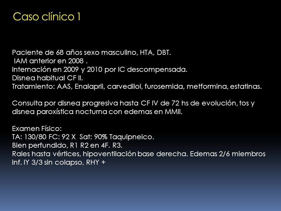 Paciente de 68 años sexo masculino, HTA, DBT. IAM anterior en 2008. Internación en 2009 y 2010 por IC descompensada. Disnea habitual CF II. Tratamient