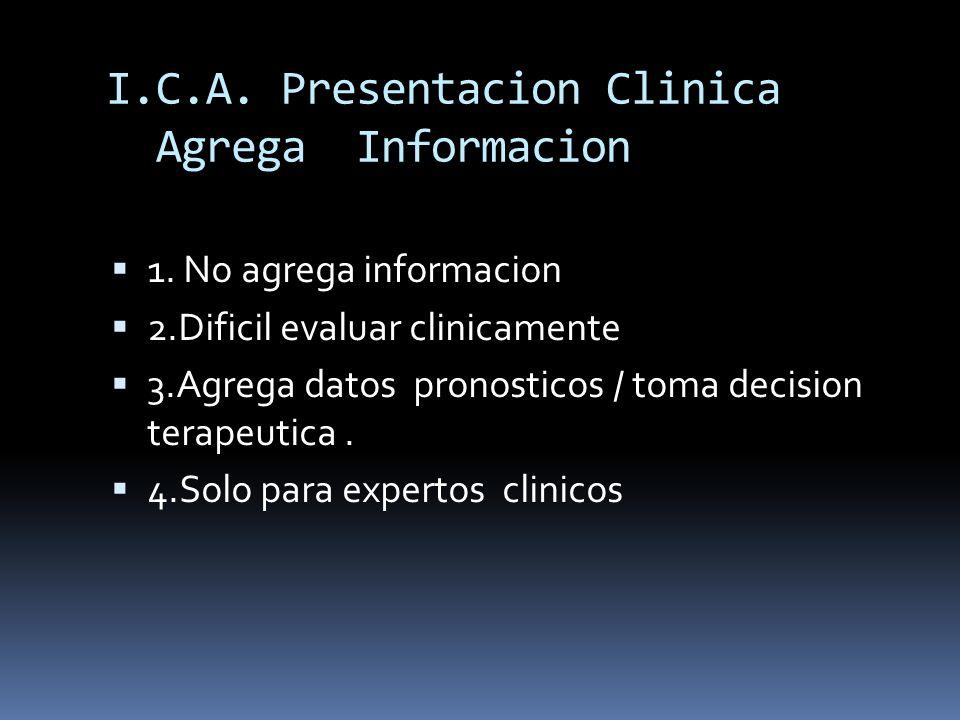 I.C.A. Presentacion Clinica Agrega Informacion 1. No agrega informacion 2.Dificil evaluar clinicamente 3.Agrega datos pronosticos / toma decision tera